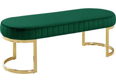 Lemar Green Velvet Bench