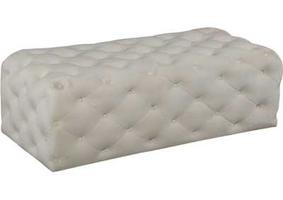 Image for Casey Cream Velvet Ottoman/Bench
