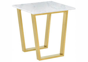 Cameron White/Gold End Table