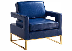Amelia Navy Leather Accent Chair