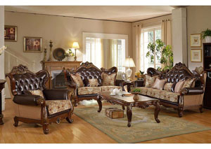 Traditional Pattern Sofa & Loveseat w/Rich Cherry Finish