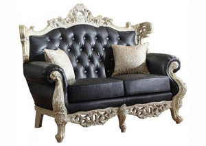 Cesar Black Leather Loveseat