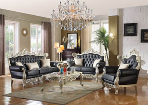 Cesar Black Leather Sofa & Loveseat