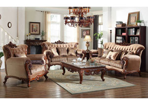 Traditional Pattern Sofa w/Rich Cherry Finish