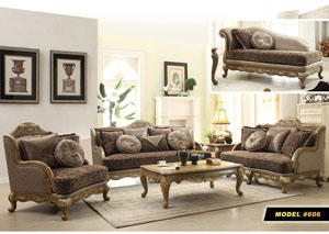 Traditional Pattern Sofa w/Pewter Finish