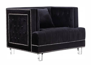 Lucas Black Velvet Chair