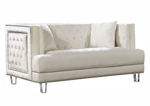 Lucas Cream Velvet Loveseat