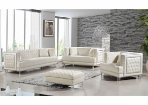 Lucas Cream Velvet Sofa & Loveseat
