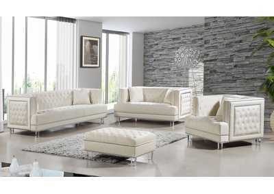 Lucas Cream Velvet Sofa and Loveseat