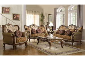 Traditional Pattern Sofa & Loveseat w/Dark Cherry Finish