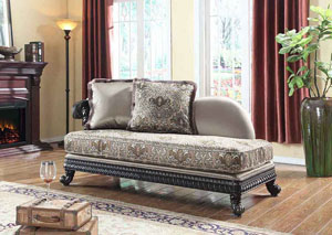 Traditional Pattern Chaise w/Black Finish
