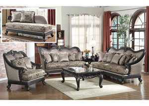 Traditional Pattern Sofa w/Black Finish