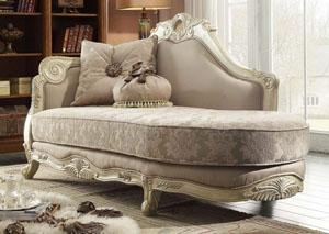 Traditional Pattern Chaise w/Antique White Finish