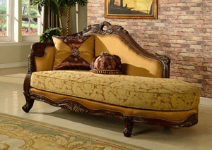 Traditional Pattern Chaise w/Cherry Finish