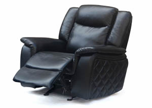 Carly Black Leather Glider Recliner