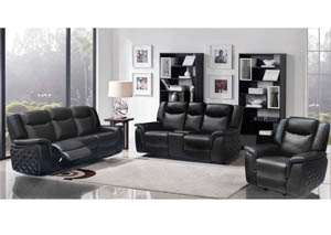 Carly Black Leather Sofa & Loveseat