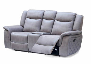 Carly Grey Leather Loveseat