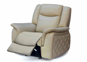 Carly Taupe Leather Glider Recliner