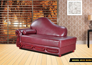 Burgundy Leather Chaise