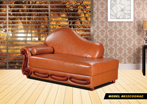 Cognac Leather Chaise