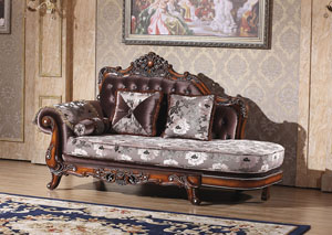 Crystal Tufted Chaise w/Rich Cherry Finish