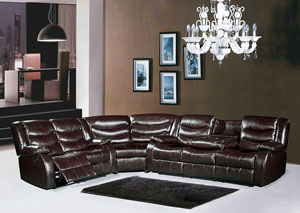 Brown Leather Reclining Sectional