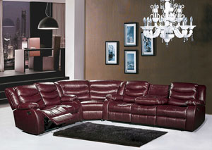 Burgundy Leather Reclining Sectional