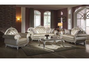 Town Of Bargains Furniture Gold Leather Sofa W Pearl White Finish