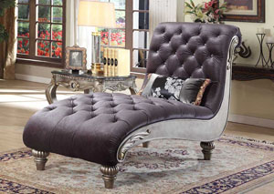 Grey Velvet Chaise w/Antique Silver Finish