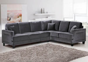 Ferrara Grey Velvet 2Pc. Sectional