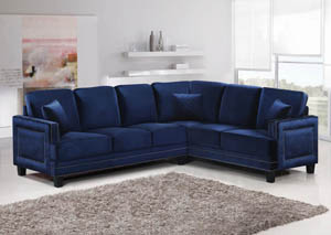 Ferrara Navy Velvet 2Pc. Sectional