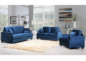 Ferrara Navy Velvet Sofa & Loveseat