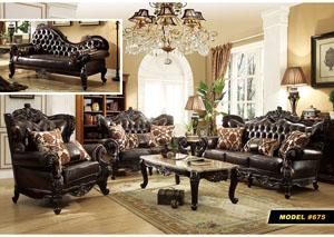 Dark Brown Leather Chair W/Rich Cherry Finish