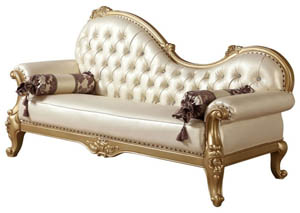 White Bennito Pearl Leather Chaise