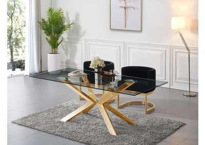 Image for Capri Gold Dining Table w/2 Black Chair