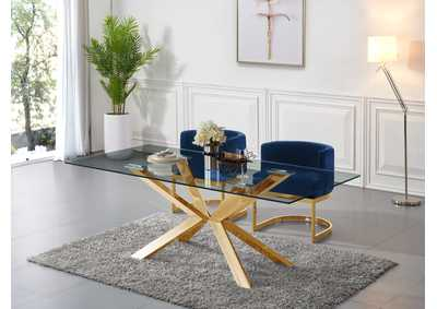 Image for Capri Gold Dining Table w/2 Navy Chair