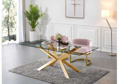 Image for Capri Gold Dining Table w/2 Pink Chair