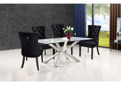 Juno Chrome Dining Table w/4 Black Chair