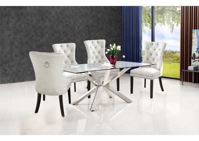 Juno Chrome Dining Table w/4 Cream Chair