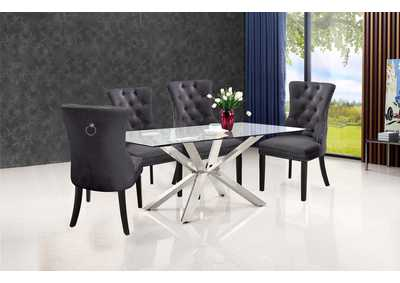 Juno Chrome Dining Table w/4 Grey Chair