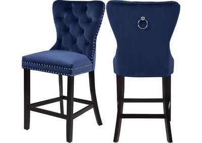 Image for Nikki Navy Velvet Stool