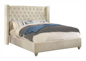 Aiden Cream Velvet Full Bed