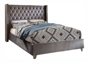 Aiden Grey Velvet Full Bed