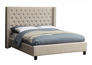 Ashton Beige Linen Twin Bed