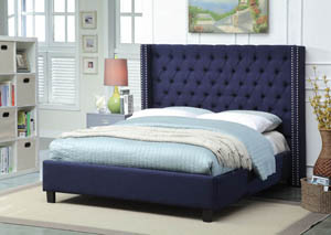 Ashton Navy Linen Queen Bed