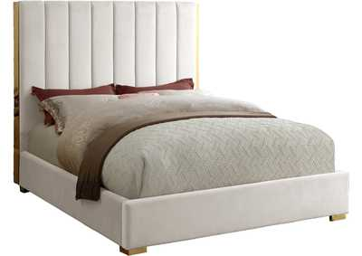 Image for Becca Cream Velvet Queen Bed