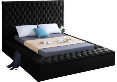Image for Bliss Black Velvet Queen Bed (3 Boxes)