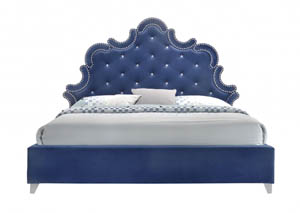 Caroline Navy Velvet Queen Bed