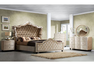 Diamond Golden Beige Velvet King Canopy Bed