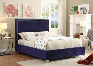 Hampton Navy Velvet King Bed